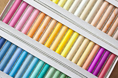 Chalk sticks. Set of pastels in various tones, background Stock Photo