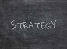 Chalk and strategy write on chalkboard background stock photos
