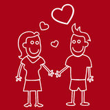 Chalk style couple (love concept) Royalty Free Stock Photography
