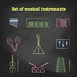 CHALK style music icons set. Children's toys collection of vector icons. Royalty Free Stock Photo