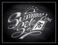 Chalk summer sale design on a chalkboard, hand drawn illustration with shopping bag Stock Image