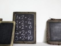 Chalk tablets used in vintage schools stock photo