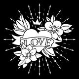 Chalk tattoo heart with ribbon and flowers Royalty Free Stock Photo