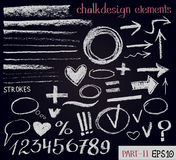 Chalk texture hand drawn design elements. Set of chalk figures, arrows, strokes, lines, frames on black board. Chalk texture design elements. Set of chalk Stock Image