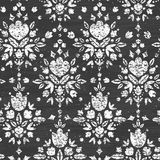 Chalk textured floral damask seamless pattern Royalty Free Stock Image
