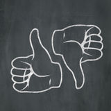 Chalk Thumbs Up Down Royalty Free Stock Photography
