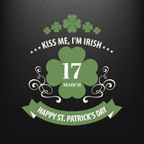 Chalk typographic design for St. Patrick Day. Vector illustration Stock Photos