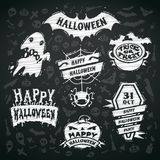 Chalk Vector Halloween Labels on Blackboard Stock Photo
