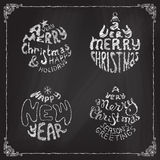 Chalk A Very Merry Christmas And Happy New Year balls. Set of four retro Christmas round designs with hand-written typography on blackboard Stock Photo