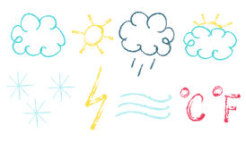 Chalk weather set Stock Photography