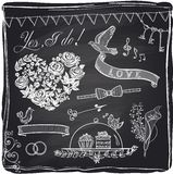 Chalk wedding hand drawn graphic set Royalty Free Stock Photos