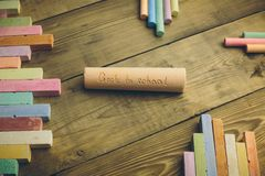 Chalk with words back to school. Chalk with the words back to school Royalty Free Stock Photos