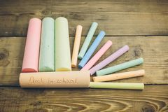 Chalk with words back to school. Chalk with the words back to school Royalty Free Stock Photography