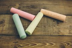 Chalk with words back to school. Chalk with the words back to school Stock Photo