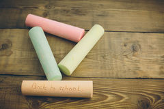 Chalk with words back to school stock photo