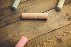 Chalk with words back to school. Chalk with the words back to school Royalty Free Stock Photo