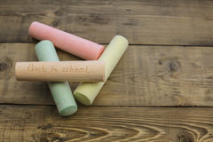 Chalk with the words back to school Royalty Free Stock Photos