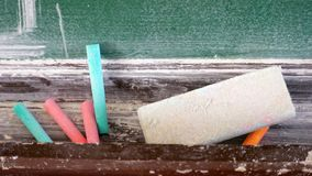 Chalk with a brush to remove the board royalty free stock photo