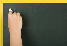 Chalkboard. A hand holding chalk, about to write something on a chalkboard Stock Photography