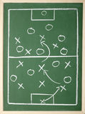 Chalkboard. Close up of a soccer tactics drawing on chalkboard royalty free stock image
