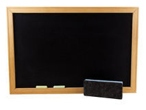 Chalkboard. Photo of a chalkboard with an eraser and chalk, isolated on white Royalty Free Stock Photography