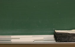 Chalkboard. Blank chalk board with chalk and eraser Stock Photo