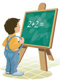 Chalkboard. Young boy is standing in front of blackboard Royalty Free Stock Photo