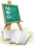 Chalkboard. Two open blank books in front of blackboard Stock Photo