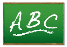 Chalkboard abc. Learn your abc drawn on a green chalk board with wooden frame Royalty Free Illustration