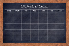 Chalkboard activity schedule. Royalty Free Stock Images