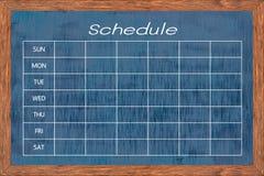 Chalkboard activity schedule. Stock Image