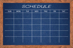 Chalkboard activity schedule. Royalty Free Stock Photos