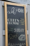 Chalkboard advertising fresh local produce Stock Images