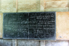Chalkboard with lesson about tolerance at an african school, SNNPR, Ethiopia Stock Photography