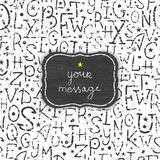 Chalkboard alphabet letters frame seamless pattern Stock Photography