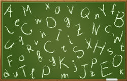 Chalkboard with alphabet in random order. Chalkboard With Alphabet Letters In Chaotic Order. Illustration Royalty Free Stock Photography