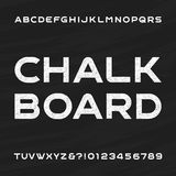 Chalkboard alphabet vector font. Distressed letters and numbers. Chalkboard alphabet vector font. Distressed letters and numbers on a chalkboard background Royalty Free Stock Photo