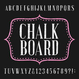 Chalkboard alphabet vector font. Hand drawn letters, numbers and symbols. Vector typography for menu, labels, headlines, posters etc Royalty Free Stock Image