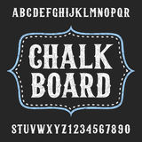 Chalkboard alphabet vector font. Hand drawn letters and numbers. Vector typeface for menu, labels, headlines, posters etc Royalty Free Stock Image
