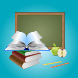 Chalkboard And Books Stock Images