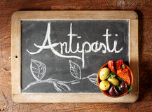 Chalkboard Antipasti sign Royalty Free Stock Photos