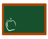 Chalkboard With Apple Outline. Blank chalkboard with apple in white outline stock illustration