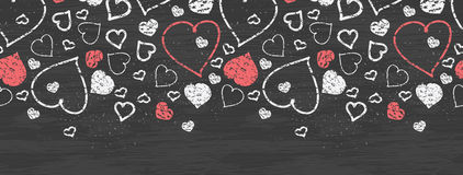 Chalkboard art hearts horizontal border seamless Royalty Free Stock Images