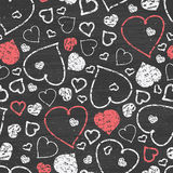 Chalkboard art hearts seamless pattern background Royalty Free Stock Images