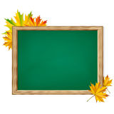 Chalkboard and autumn leaves. Royalty Free Stock Photos