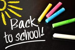 Chalkboard with back to school royalty free illustration