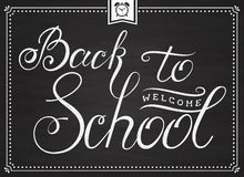 Chalkboard Back to School card with lettering. Royalty Free Stock Photos