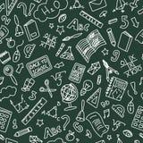 Chalkboard Back to School Doodle Seamless Pattern. Blue Ballpen vector illustration