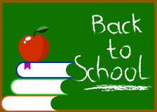 Chalkboard with Back to School Hand Writing Books and Apple stock illustration