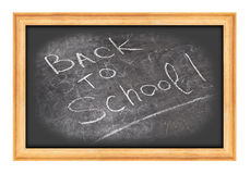 Chalkboard with back to school written in white chalk Royalty Free Stock Photo
